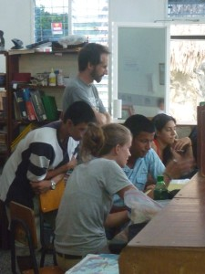 Students and teachers (and Jess) at work