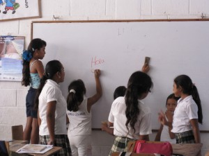 Primary (elementary) school students at whiteboard